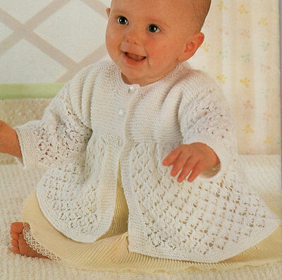 "Baby Lacy Matinee Coat  12"" - 18"" 4Ply Knitting Pattern"