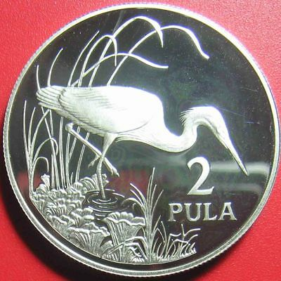 1986 BOTSWANA 2 PULA .84oz SILVER PROOF SLATY EGRET CRANE WILDLIFE BIRD WWF 38mm