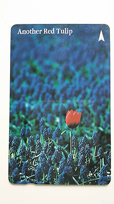 Singapore Phone Card Another Red Tulip Flower Lavender #3