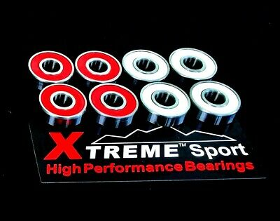 627 RS [7mm] ABEC-11 Xtreme Red & White HIGH PERFORMANCE ROLLER SKATE BEARINGS