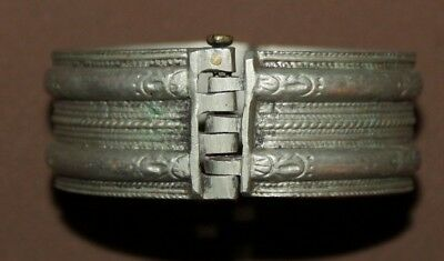 Antique Greek Orthodox folk silver hinged engraved bracelet