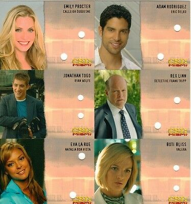 CSI Miami Complete Un-signed Autograph Cards Lot of 6 from Strictly Ink