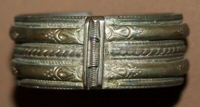 Antique Greek folk silverplated cuff bangle hinged bracelet