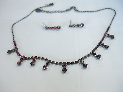 Vintage Red Rhinestone & Titanium Colored Choker with Pierced Earring Set