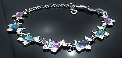 Adjustable Westie Terrier Lovers  Anklet inlaid with colorful Paua Shell