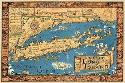 """A Map of Long Island"" NY 1930s Historic Wall Map - 24x36"