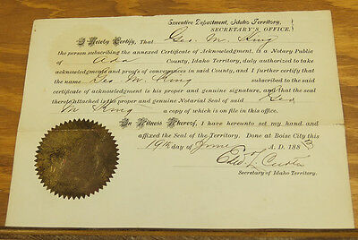 1883 Official Document / IDAHO TERRITORY, Signed by EDWARD L. CURTIS
