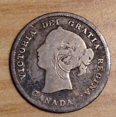 1870 Canada Silver Five Cents 5 Cent Piece Coin Canadian #3