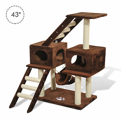 """PawHut 42.8"""" Cat Scratching Tree Bed Condo House Furniture Post Bed Toys"""