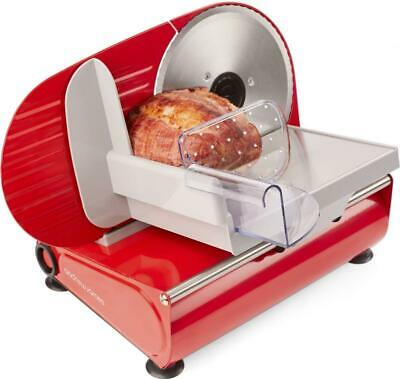 Andrew James Red Electric Food & Meat Slicer 19cm Blade + 2 Extra Blades