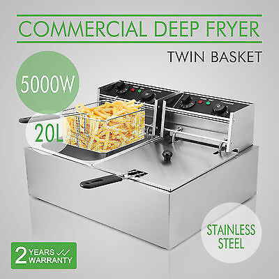 5000W 20 L Stainless steel Electric Countertop Deep Fryer Dual Tank Commercial