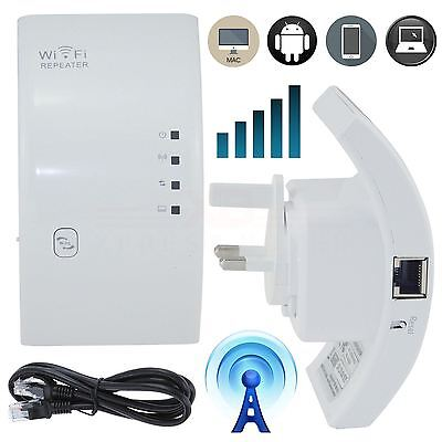 New 300Mbps Wireless N Wifi Repeater Router Range Booster Extender UK Plug