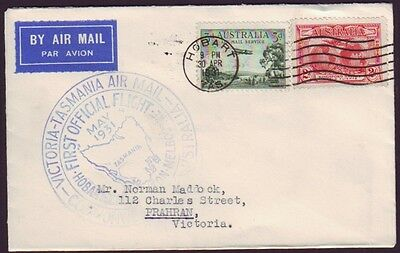 1931 Australia First Official Airmail Melbourne To Hobart Aamc #198 (Ps3681)