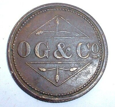Old Australia OG & Co Osborne Garrett & Co Barber 1 1/2 Token - Ref:984