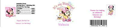 25 Baby Minnie Mouse 1st Birthday  Water Bottle Label Favor Waterproof