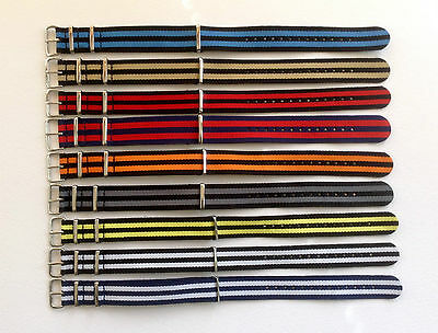 Nato/G10/Mod Military Style Nylon Watch Strap - Two Stripes Various Colours