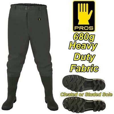 PROS 680g DELUXE HEAVY DUTY WAIST WADERS FISHING GREEN