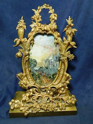 Very Heavy Antique Fancy Bronze Frame With Reversed Painted Glass Art