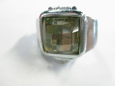 Vintage but Current Silvertone Stretch Band Ring Watch, Yellow Stone, signed RK