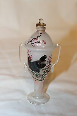 "Antique Reverse Painted Asian Snuff Bottle Chicken Flowers 4 5/8"" X 2 1/4"""