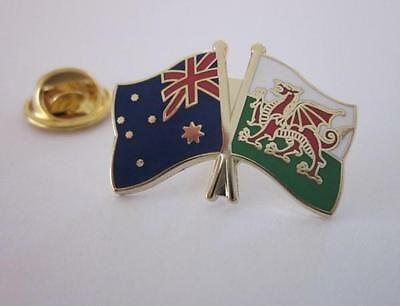 Australia & Wales Flag Friendship Flag Pin Badge Australian Welsh