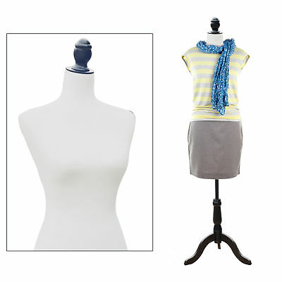 HOMCOM Female Mannequin Torso Dress Form Clothing Display W/ Tripod Stand White