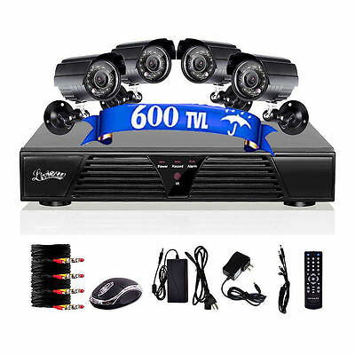 4CH CHANNEL Home Video Surveillance 800TVL DVR Security System 4 Outdoor Camera!