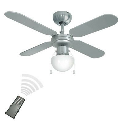 Modern Remote Control Silver / Chrome 3 Speed Ceiling Fan with Light Fitting NEW
