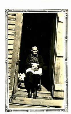 Old 4x3 b/w photo woman sitting in doorway apron white dog