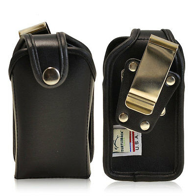 Rugged Genuine Black Leather Heavy Duty Case for Samsung Convoy 3