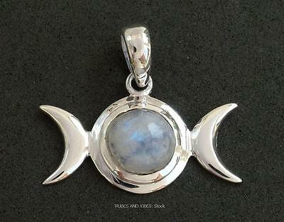 Triple Moon Goddess Pendant Sterling Silver Rainbow Moonstone crystal gem wicca