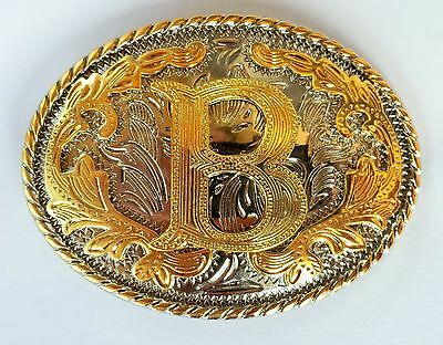 "Initial "" B ""  Rodeo Cowboy Letter Shine Gold Silver Western Belt Buckle"