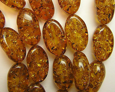 Abstract Large Oval Stabilized Caramel Honey Amber Resin Beads 18 Bead Strand