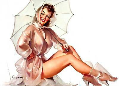"VINTAGE PINUP GIRL Gil ELVGREN CANVAS ART PRINT Rain Coat Umbrella 16""X 12"""