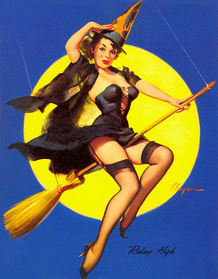 Vintage GIL ELVGREN Pinup Girl QUALITY CANVAS PRINT Poster ~ Flying High ~ 12x8""