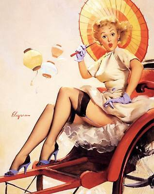 Vintage GIL ELVGREN Pinup Girl QUALITY CANVAS PRINT Poster China Travels 12x8""