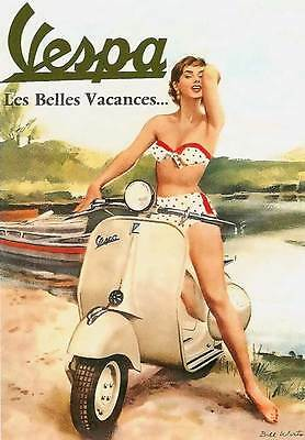 RETRO PINUP VESPA GIRL-  QUALITY CANVAS PRINT Poster bikini scooter - 12x8""
