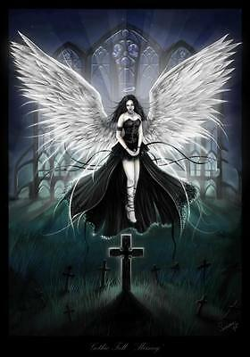 "GOTHIC ANGEL ~ CANVAS ART PRINT poster 16""X 12"""