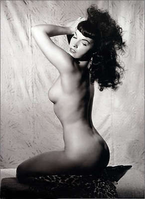 Bettie Page Vintage Pinup EXTRA LARGE Canvas Art Print Black & White photo A