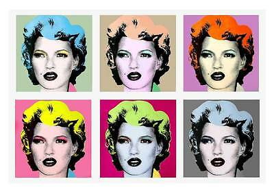 BANKSY Kate Moss Warhol Style-QUALITY CANVAS PRINT A2 Pop Art Poster