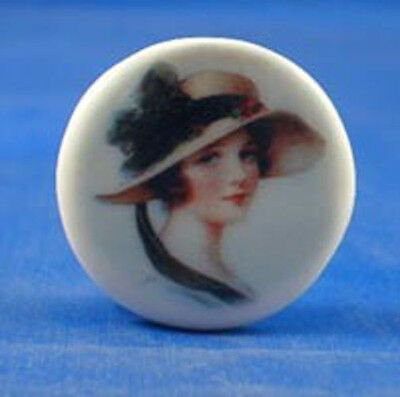 """1"""" Porcelain China Button -- In My Easter Bonnet"""