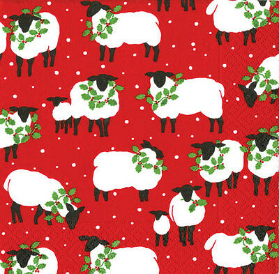 Red Festive Flock Sheep Christmas caspari paper lunch table napkins 20 in pack