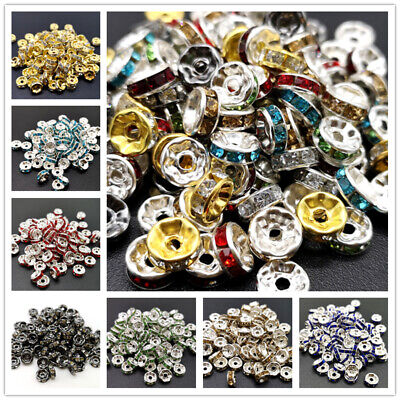 TOP-Quality 100 Crystal Rhinestone SILVER PLATED 14 Color Rondelle Spacer BEADs
