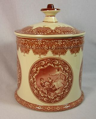 Romantic Red Toile Transferware Courting Cameos Biscuit Jar with Lid 59323