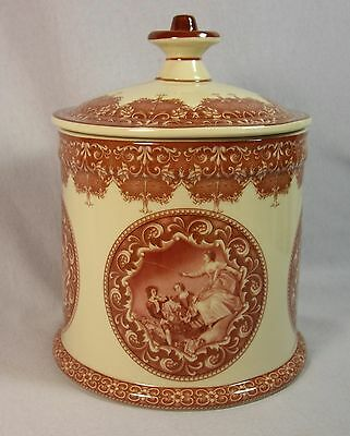 Romantic Red Toile Transferware Courting Cameos Biscuit Jar with Lid 59323 -2VIN