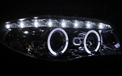 KLARGLAS CHROM ANGEL EYES LED STANDLICHTRINGE SCHEINWERFER SET BMW E81 1er LWR