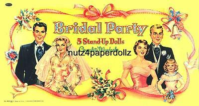 VINTGE 1950s BRIDAL PARTY PAPER DOLL ~GORGEOUS LASER REPRODUCTION~ORG SIZE UNCUT