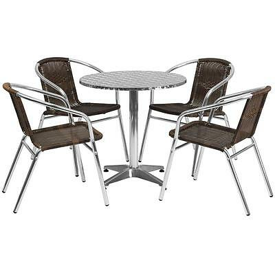 27.5'' Round Aluminum Indoor-Outdoor Table With 4 Rattan Chairs