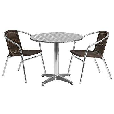 31.5'' Round Aluminum Indoor-Outdoor Table With 2 Rattan Chairs