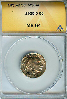 1935 D 5c ANACS MS 64 (MINT STATE, UNCIRCULATED)  BUFFALO NICKEL